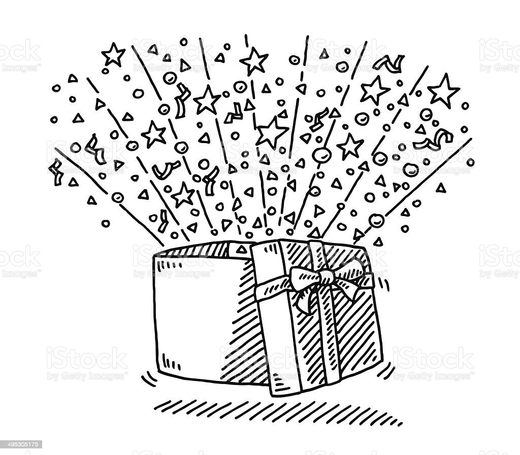 Open Gift Box Surprise Drawing Stock Vector Art More Images Of
