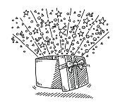 Hand-drawn vector drawing of an Open Gift Box Surprise. Black-and-White sketch on a transparent background (.eps-file). Included files are EPS (v10) and Hi-Res JPG.