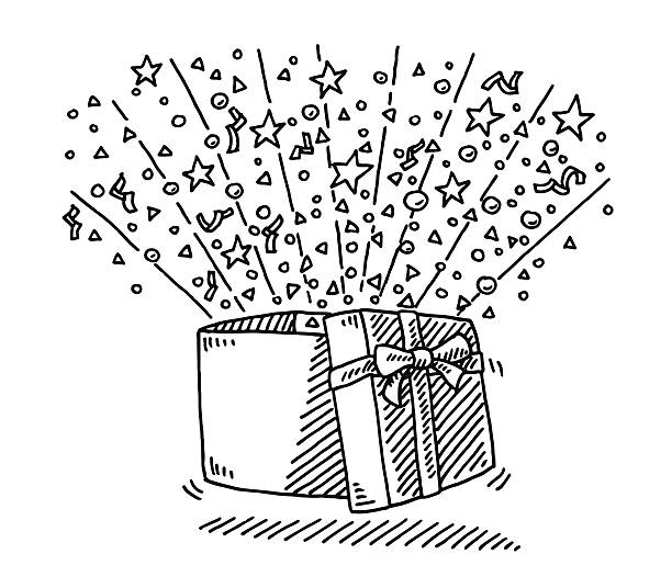 Open Gift Box Surprise Drawing Hand-drawn vector drawing of an Open Gift Box Surprise. Black-and-White sketch on a transparent background (.eps-file). Included files are EPS (v10) and Hi-Res JPG. celebration stock illustrations