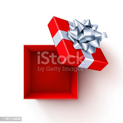 Vector illustration of an open red gift box with silver bow.