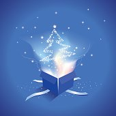 Open gift box with Christmas Tree