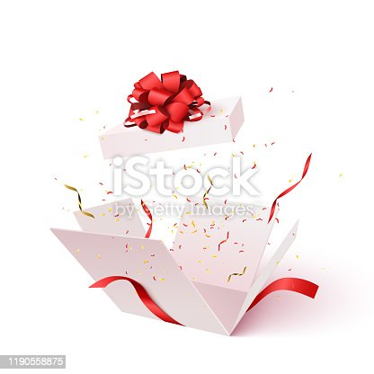 Open gift box with confetti burst explosion isolated. 3d vector background.