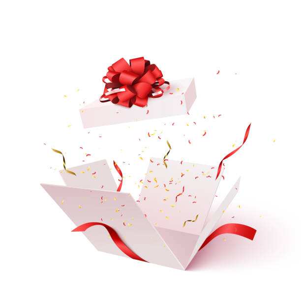 open gift box with confetti burst explosion isolated. - prezent na urodziny stock illustrations