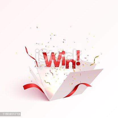 Open gift box with confetti burst explosion isolated. Winner 3d vector background