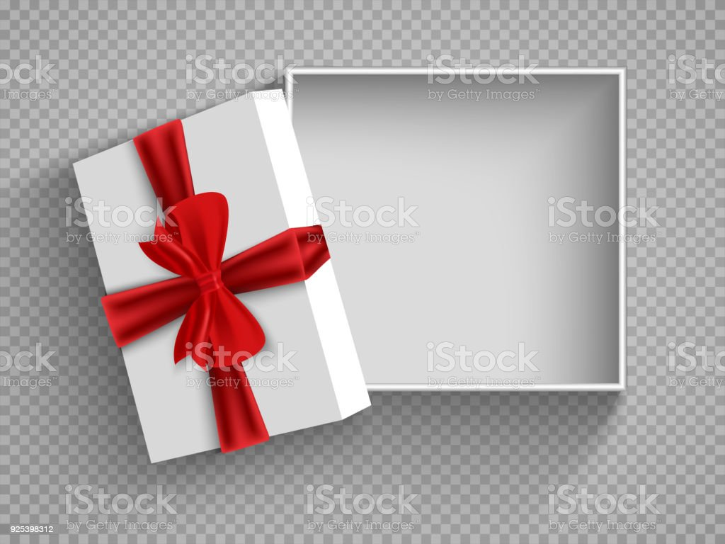 Open gift box with red bow isolated on white. Illustration Isolated on a transparent background. Vector EPS10 vector art illustration