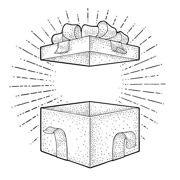 ilustrações, clipart, desenhos animados e ícones de caixa de presente aberto com fita, laço e ray. gravura de vetor - impressão ilustração