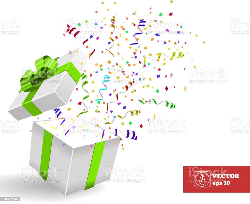 Open Giftbox with Confetti. Vector Background vector art illustration