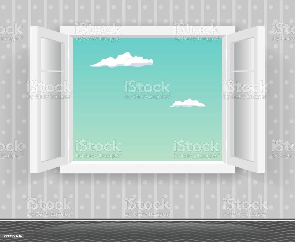 Open Glas Fenster Rahmen Cartoon Home Interior Design Template ...