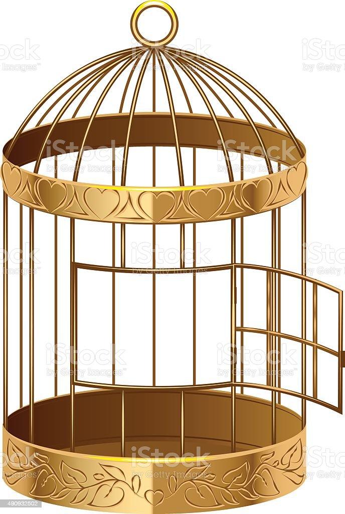 Open gold birdcage. An empty birdcage vector art illustration