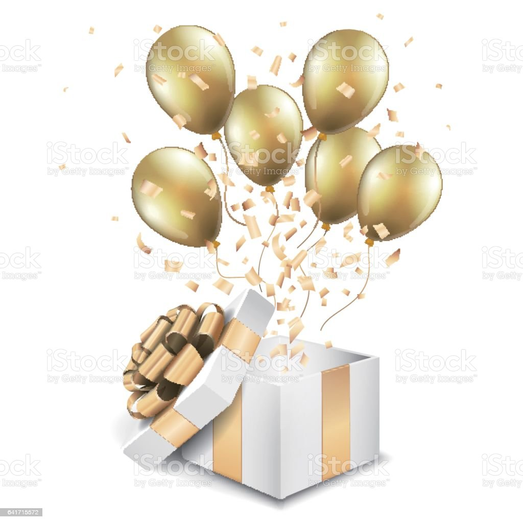 Open gold gift box with balloons vector art illustration