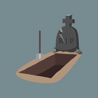 open grave and headstone with hoe