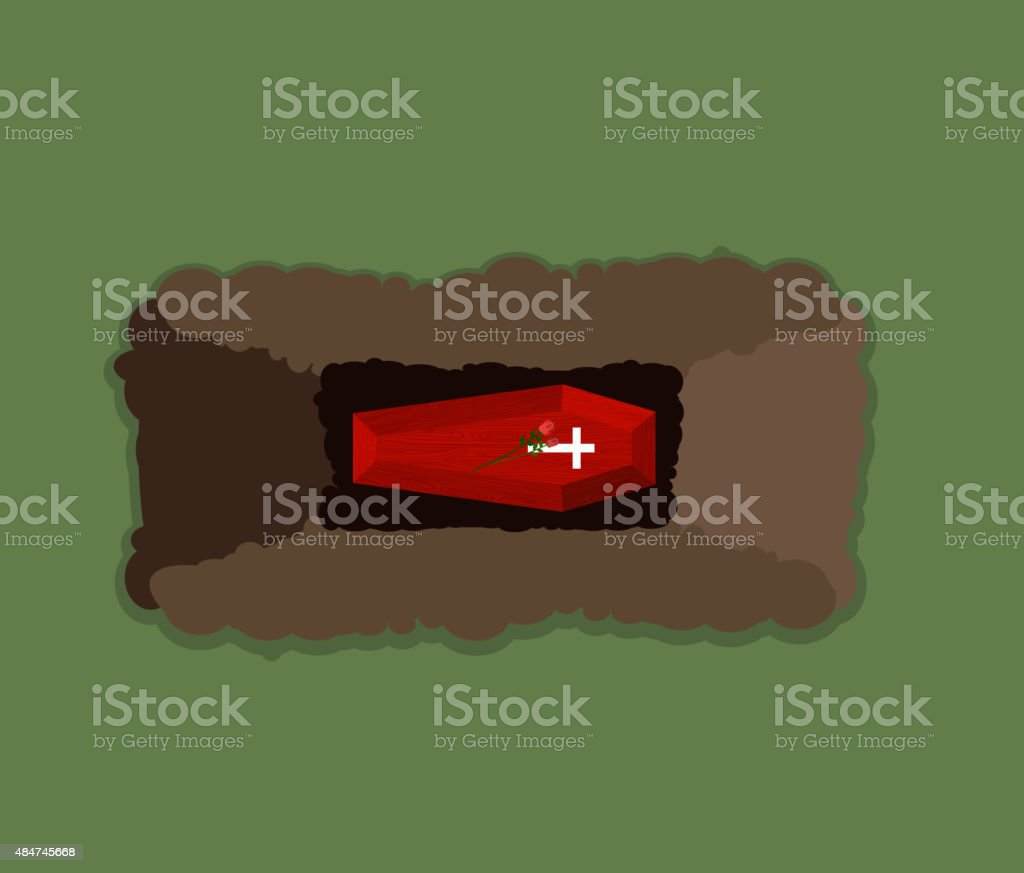 Open grave. Coffin in pit. Flowers Roses roof of Tomb vector art illustration
