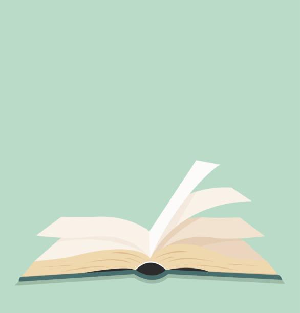 ilustrações, clipart, desenhos animados e ícones de design de plano aberto livro verde - aberto
