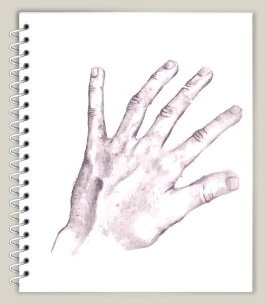 Open Hand Drawing on Art Sketcbook royalty free vector art Open Hand Drawing on Art Sketchbook royalty free vector art. This illustration features a pencil sketch on white paper background. The spiral sketchbook is on beige background. The line art is detailed and realistic. Icon download includes vector art and jpg file. biofeedback stock illustrations