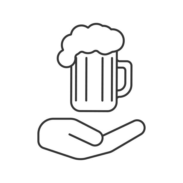 Open hand with beer mug icon vector art illustration