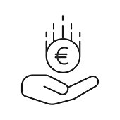 Open hand with euro icon