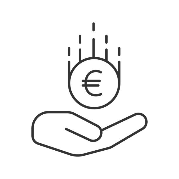 Open hand with euro icon Open hand with euro linear vector icon. Thin line euro symbol stock illustrations