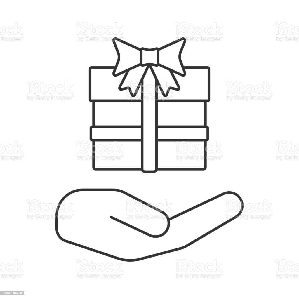 Open Hand With Gift Box Icon Royalty Free Stock