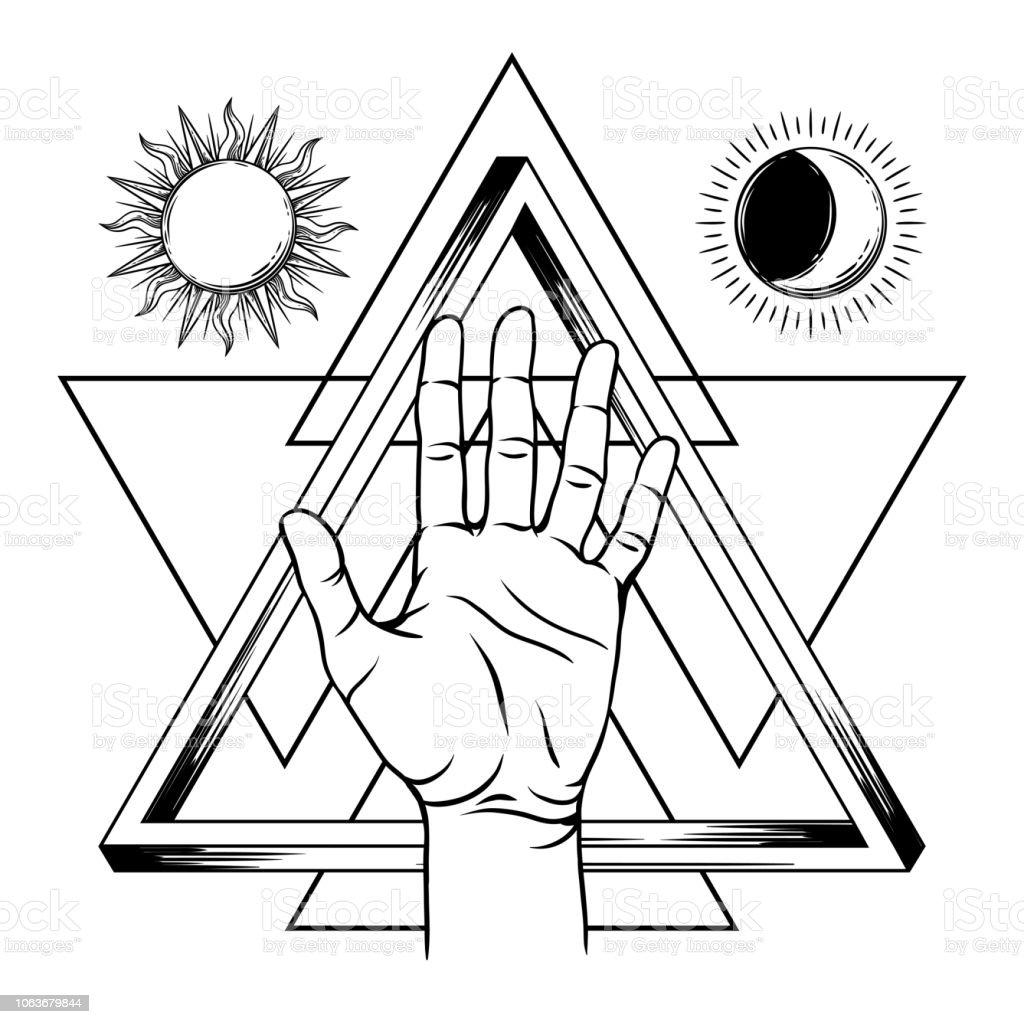 無限の三角形と開いた手の形 イラストレーションのベクターアート素材