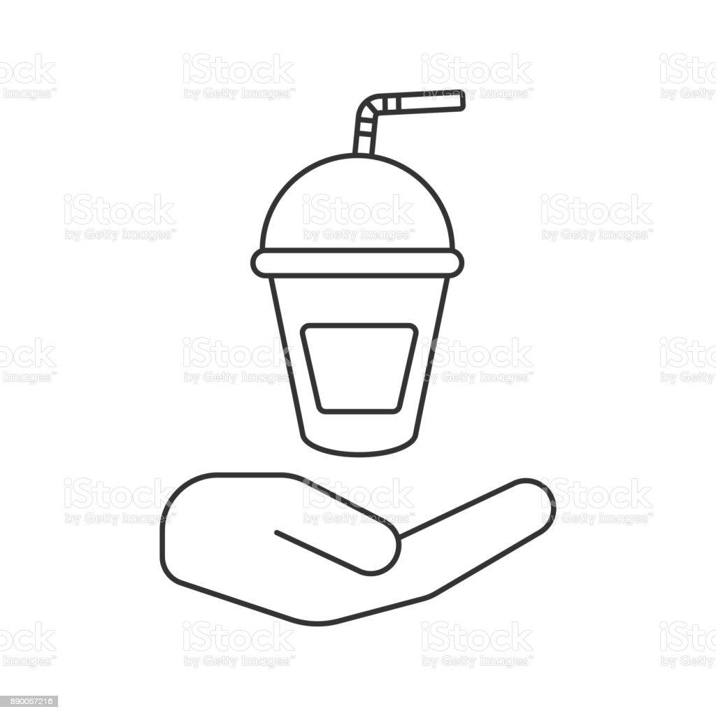 プラスチック カップ アイコンが付いた手の形 アイコン一覧のベクター