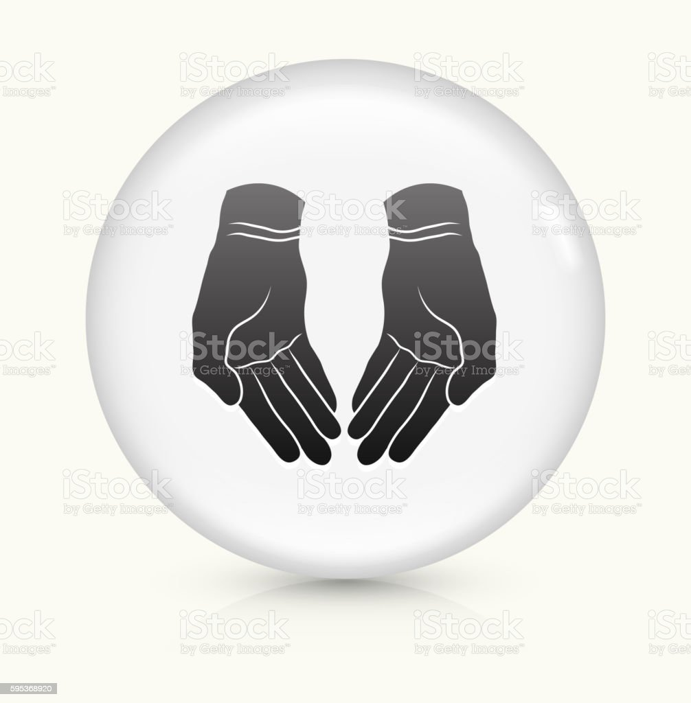 Open Hands icon on white round vector button - Illustration...