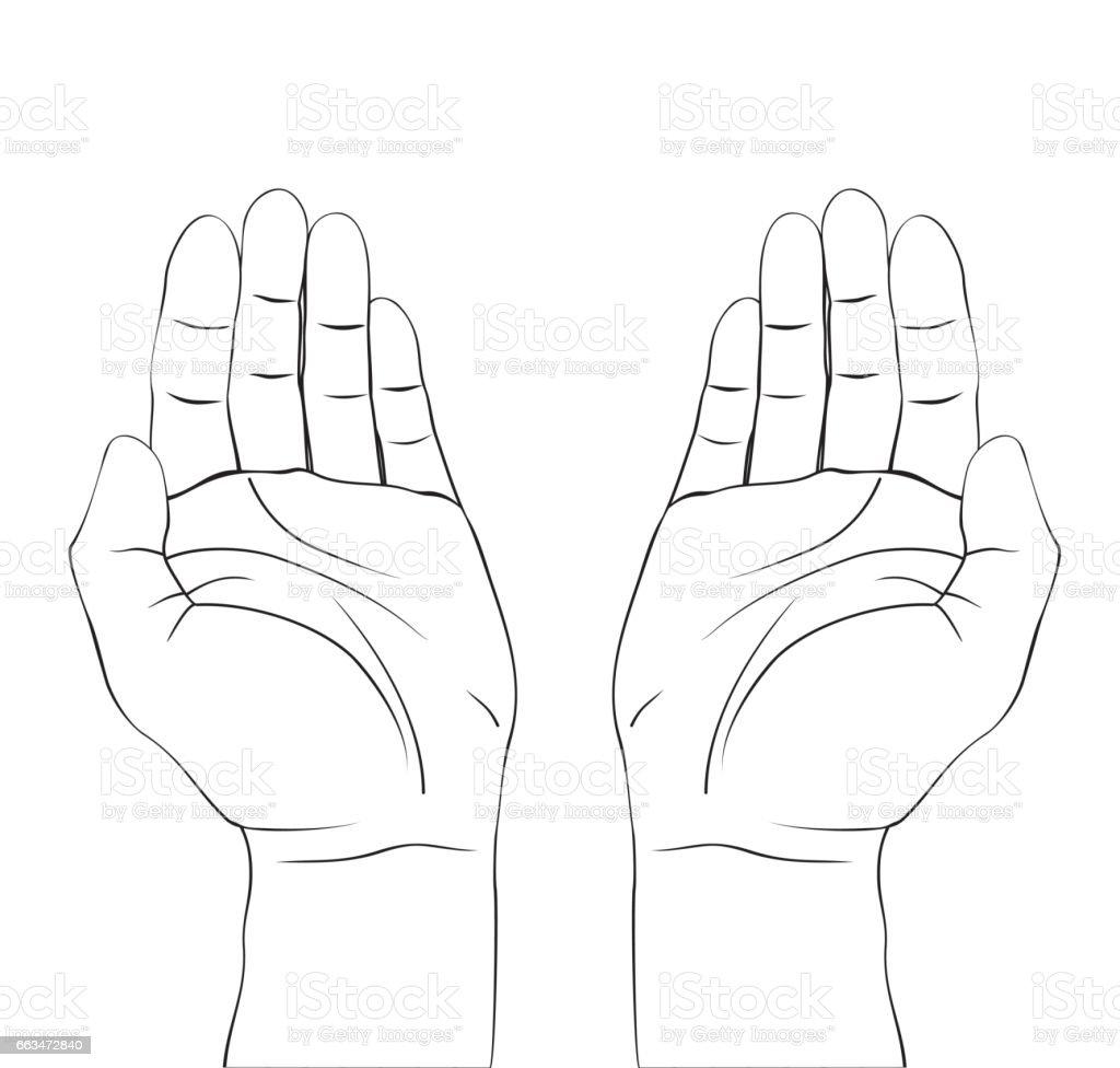 Open Hands Prayer Draw Stock Illustration - Download Image ...