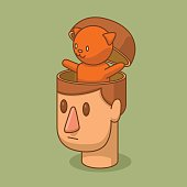 Open head of man with a little ginger cat