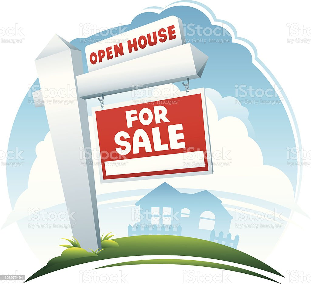 Open House and For Sale Sign vector art illustration