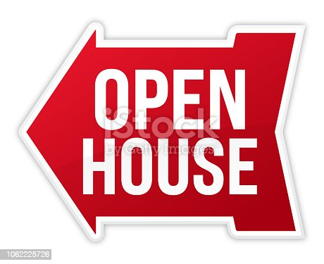 Open house arrow sign.
