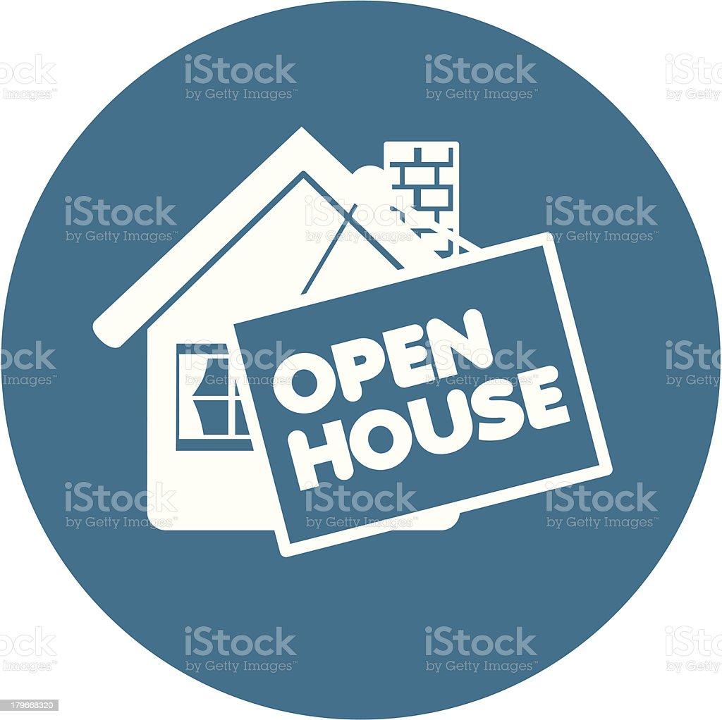 open house icon vector art illustration