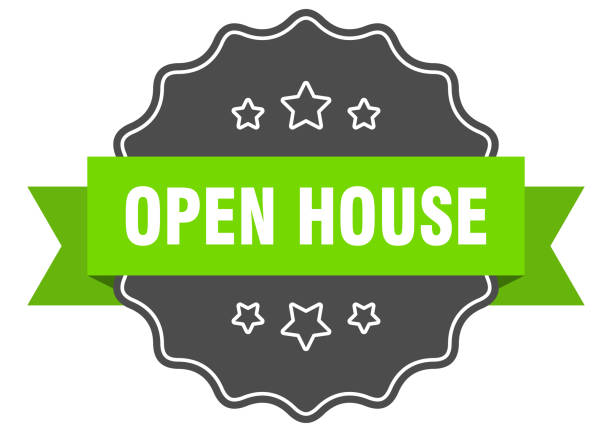 open house isolated seal. open house green label. open house open house isolated seal. open house green label. open house fully unbuttoned stock illustrations