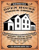 Open House on Grunge Background Invitation