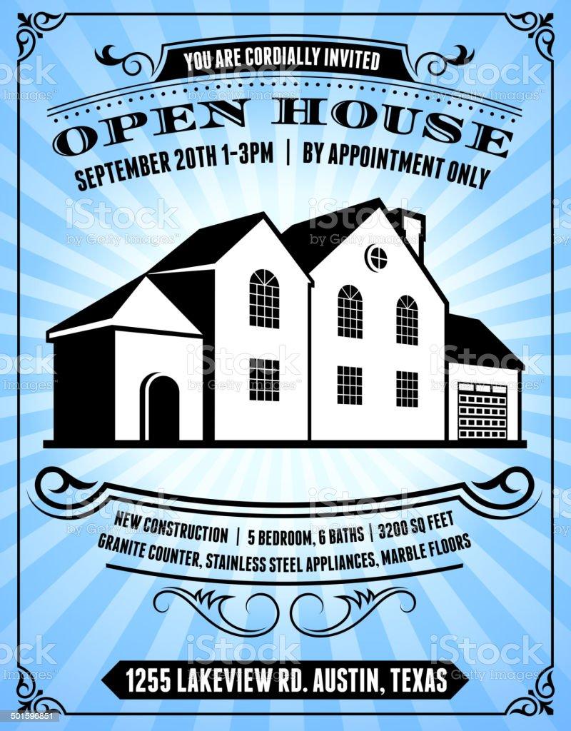 Open House Poster on Blue Background vector art illustration