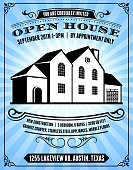 Open House Poster on Blue Background