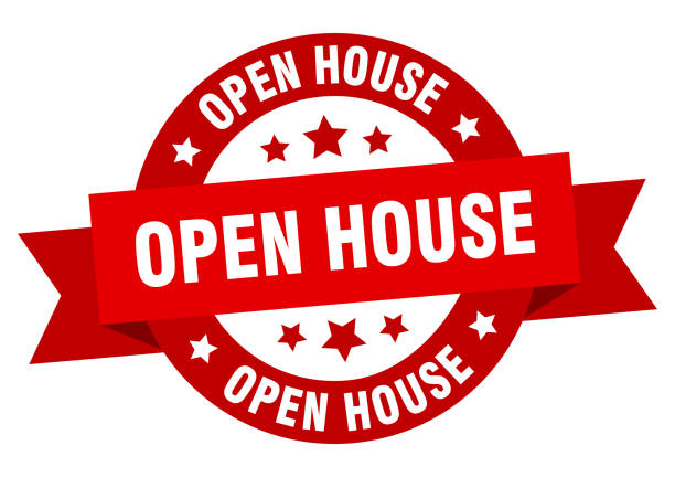 open house ribbon. open house round red sign. open house open house ribbon. open house round red sign. open house fully unbuttoned stock illustrations
