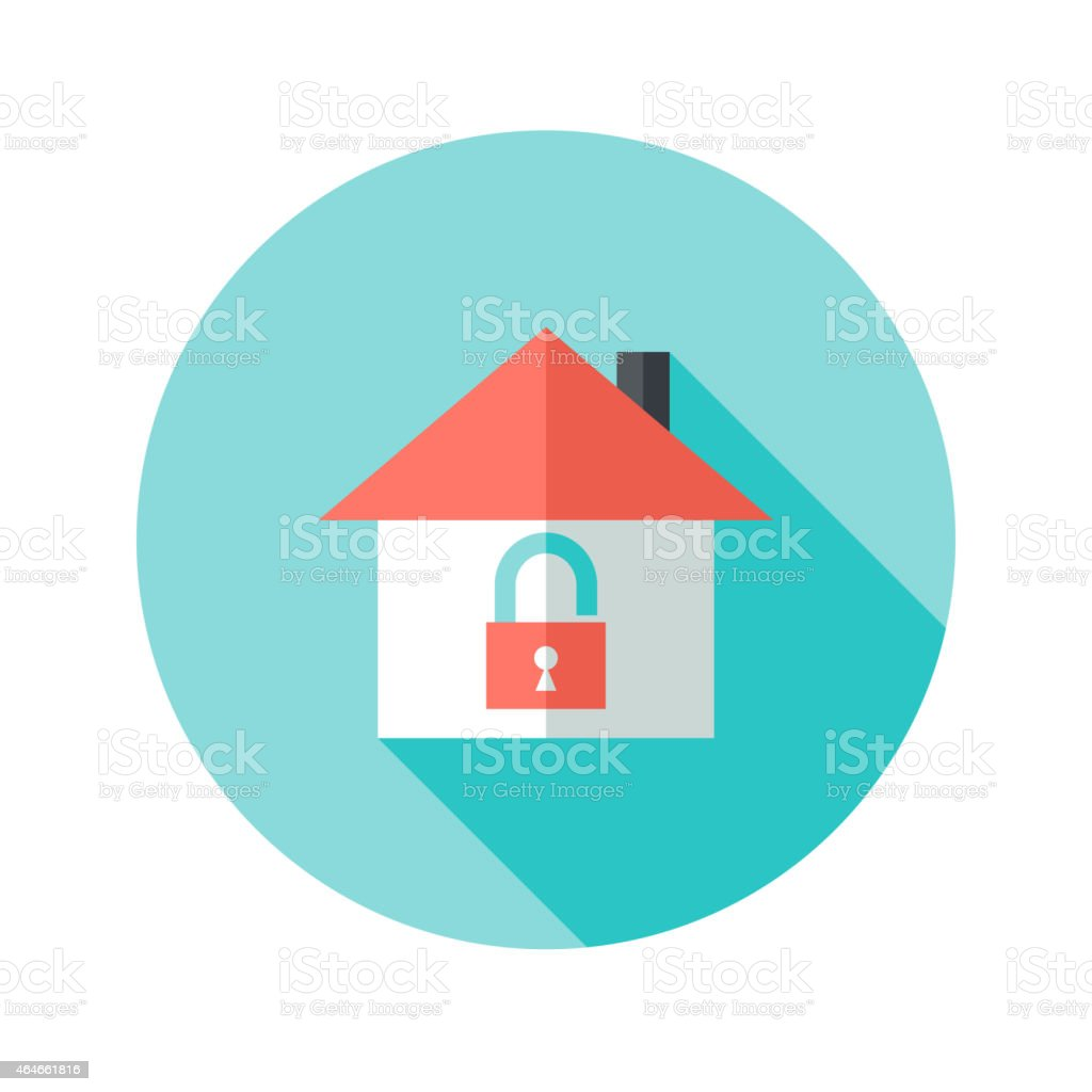 Open House with Padlock Circle Flat Icon vector art illustration