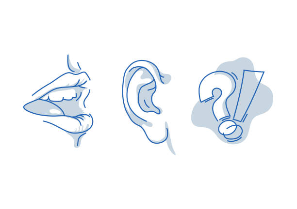 illustrazioni stock, clip art, cartoni animati e icone di tendenza di open human mouth, speaking and listening. hearing and understanding the words. human sense isolated on white background. suitable for info graphics, websites and print media. - bocca umana