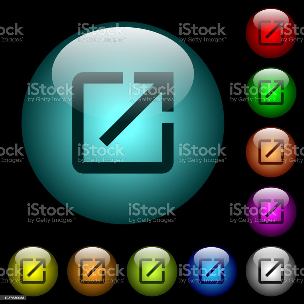 Open in new window icons in color illuminated glass buttons