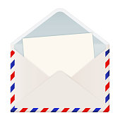 Open international mail envelope with letter