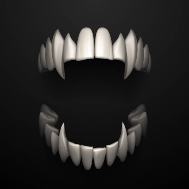 Open jaws with big fangs on black background Open jaws with big fangs on black background in vector human jaw bone stock illustrations