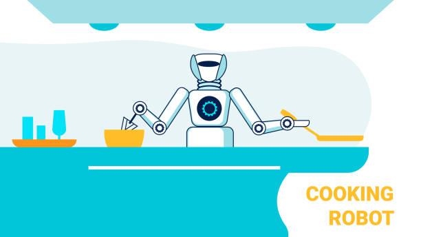 ilustraciones, imágenes clip art, dibujos animados e iconos de stock de cocina abierta robótica cook plantilla de banner plano - busy restaurant kitchen