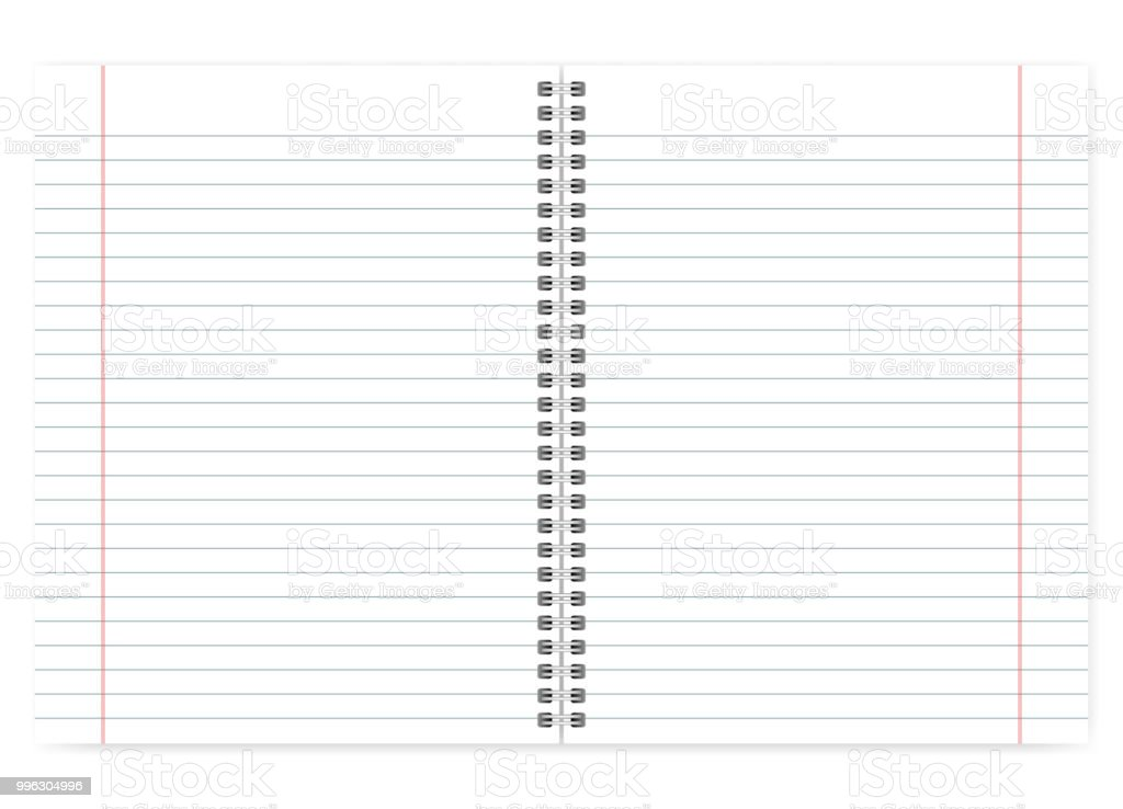 Open Letter Format Spiral Notebook Lined Pages With Margin Mockup