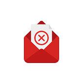 open letter rejectioned. vector illustration