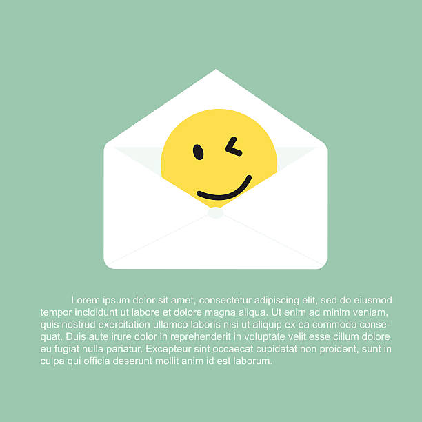 Open letter with smile giving consolation Concept have a nice day note stock illustrations