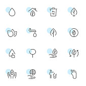 Vector illustration of a set of environment icons. Line art.