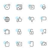 Vector illustration of a set of social media line art icons