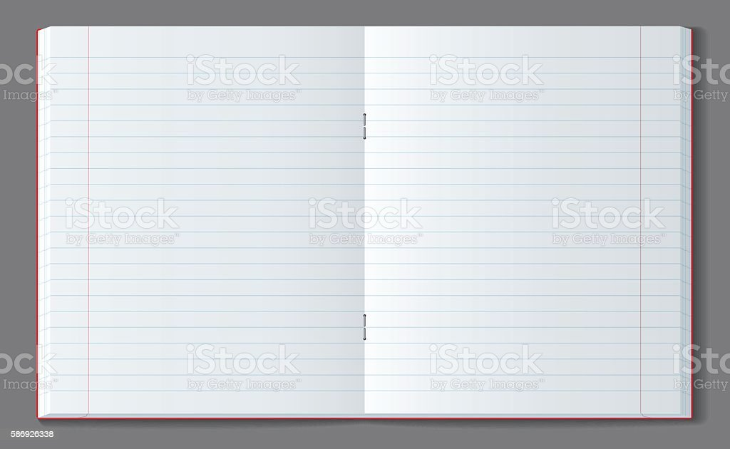 Open line notebook with soft transparent shadow. vector art illustration