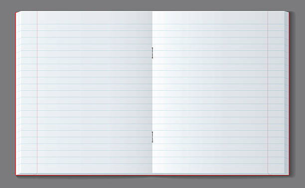 open line notebook with soft transparent shadow. - composition stock illustrations