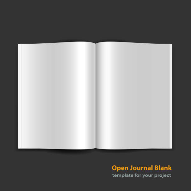 Open magazine double-page spread with blank pages Open magazine double page spread with blank pages on black background. Vector journal EPS10 spreading stock illustrations