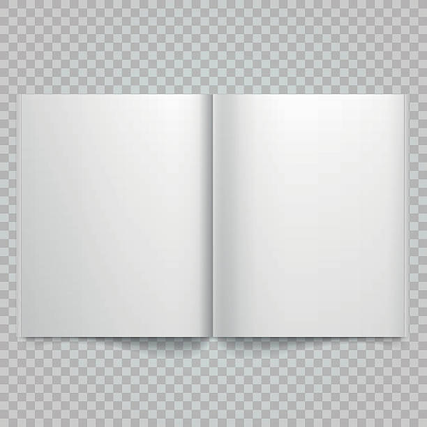 Open magazine double-page spread with blank pages. vector art illustration